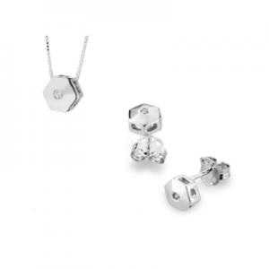Parure esagono in oro bianco 18 kt e diamanti mod. PLE0015+PLE003