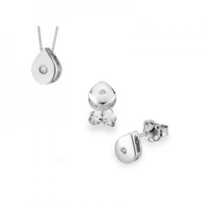 Parure esagonogoccia in oro bianco 18 kt e diamanti mod. PLG0015+PLG003