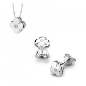 Parure quadrifoglio in oro bianco 18 kt e diamanti mod. PLQ0015+PLQ003