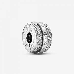 Charm Pandora clip con logo e pavé scintillante mod. 799042C01